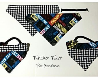 reversible dog scarf, trendy digs wear, dog bandana, pet scarf, pet bandana, pet attire, pet clothing,summer, reversible, nascar, racing
