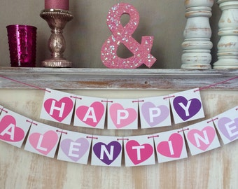 Happy Valentines Banner,Valentine Banner,Valentines Day Banner,Valentine Bunting,Valentine Garland,Valentine Decor,Valentine Photo Prop
