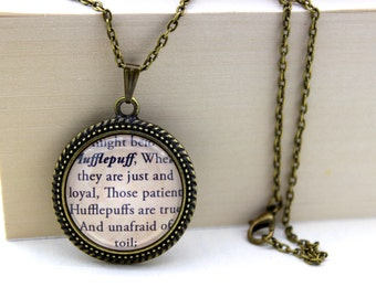 Harry Potter 'You Might Belong In Hufflepuff' Hufflepuff Book Necklace. Harry Potter Quote.