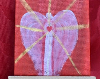 MINI CANVAS art-Small painting- Angel of Love-canvas and easel-9x7 cm-Desktop art-spiritual art- angel gift-small angel-miniature art
