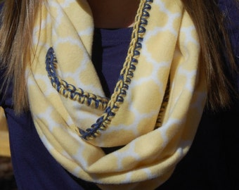 Yellow fleece Infinity scarf