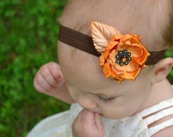 Flower Headband, Flower Clip, Flower Bow, Baby Headband, Baby Bow, Orange, Girls Headband, Girls Clip, Girls Bow, Girls, Baby Girl, Headband