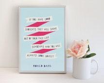 Roald Dahl Quote Girls Room Wall Art Baby Girl Gift Pink Blue Print Cute Nursery Decor Gift For Girls Room Decor Happy Art Typographic Print