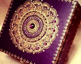 Wild Plum Purple Mandala Keepsake Jewelry Box with Gem Stones