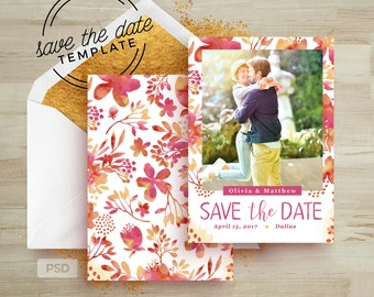 Save the Date Card Template - Wedding Announcement Card Template - With Watercolor & Flowers PSD - Photography Marketing Template - PSD