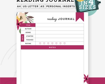 Reading Journal Printable Planner, Printable Reading Log Printable, Personal Planner Inserts, A5 refill A4/Letter, Personal INSTANT Download