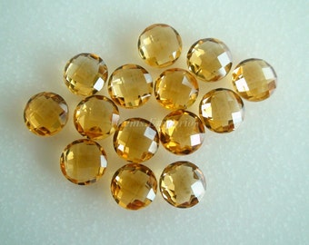 Yellow Citrine Round Faceted Briolettes, Checkerboard Cut, Size 8 mm and 6mm, Fine Quality, Priced Individually.