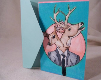 Conjoined Twin Hand Drawn Card