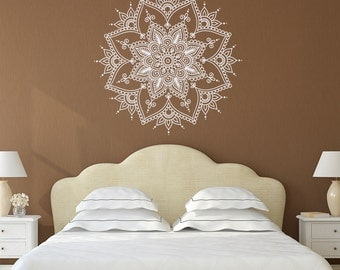 mandala wall decal mandala decal yoga studio decor bohemian bedroom decor wall - Wall Art Design Decals