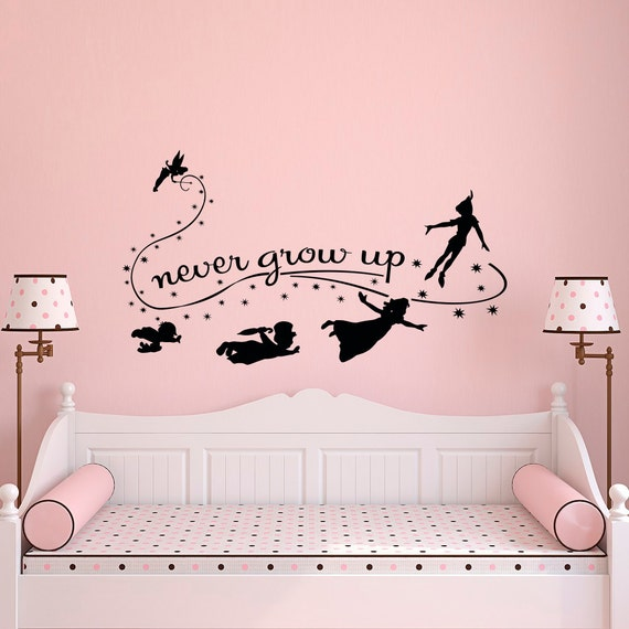 never grow up wall decal quote peter pan wall decals nursery. Black Bedroom Furniture Sets. Home Design Ideas