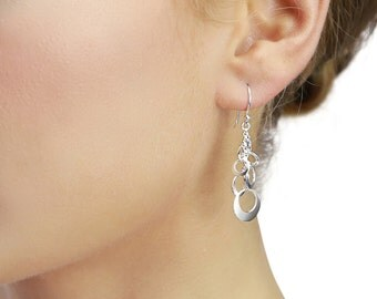 Open Multi Disc Cluster Drop Earrings