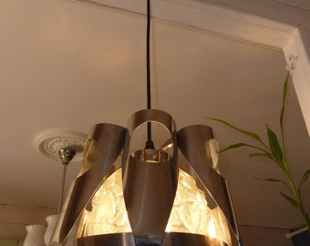 lamp ceiling light chandelier 70s metal and glass stainless perfect condition