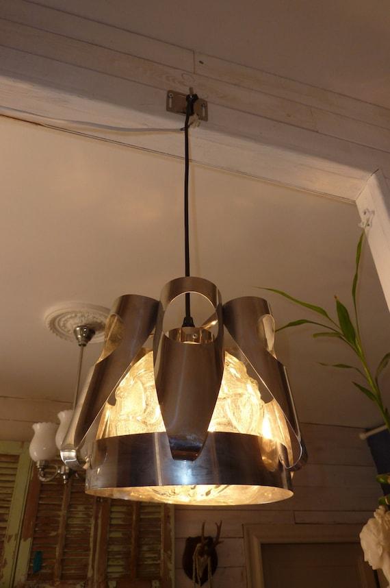 lampe plafonnier lustre des ann es 70 en inox m tal et verre. Black Bedroom Furniture Sets. Home Design Ideas
