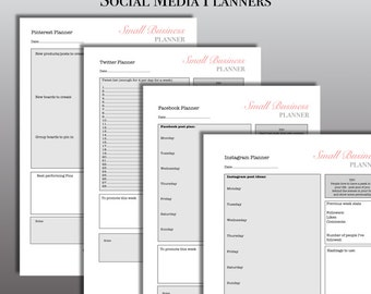 Social media planners for Small Businesses and bloggers, digital download pdf, 4 files , Pinterest, Instagram and Twitter and Facebook.
