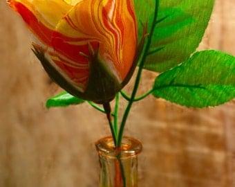 Hand marbleized silk flowers