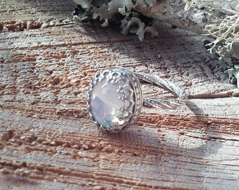 Oracle Ring // Sterling Silver // Vintage Swarovski Cabochon // Scrying Ring // Gifts For Her // Bridesmaids Gift