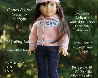 "Versatile & Variegated-AG-PDF knitting pattern for 18"" dolls like American Girls--Grace's Gifts"