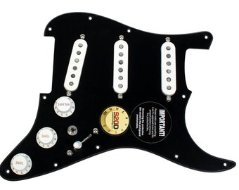 Fender Stratocaster Electric Guitar Loaded Pickguard w/ Fat 50s/CS '69/SSL-5 Pickups Black/White - 920D Custom