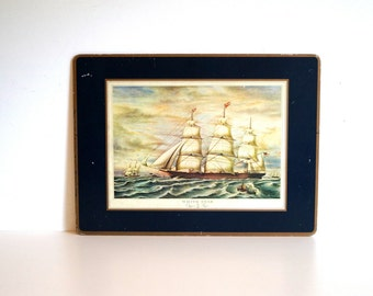 Vintage art print. Wall art. WHITE STAR. Clipper Ships Wall hanging Home decor Artwork Nostalgic retro wall decor Ships and the sea painting