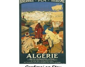 Instant Download - Vintage Travel Poster - Algeria - Algerie, port, market, oranges