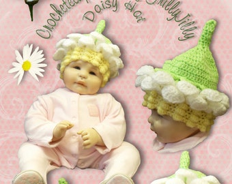 Daisy Hat Crochet pdf digital download pattern written,photos,charts,diagrams, boho floral flower daisy green and white baby bonnet cute