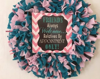 Funny Wreath, rag wreath, fleece, dorm room decor, college apartment, ribbon, every day wreath, front door wreath, welcome friends