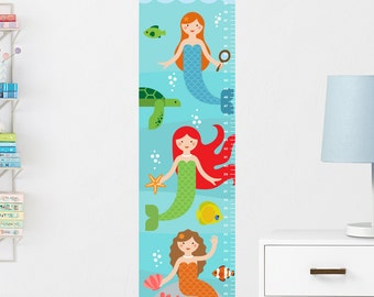 Mermaids Growth Chart Decal, Mermaid Height Chart, Mermaids Growth Chart, Girls Height Chart