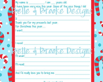Letter to Santa - Red and Blue - Fill In - Printable