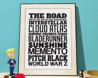 Favourite Movie Poster Personalised - 10 favourite movie titles.