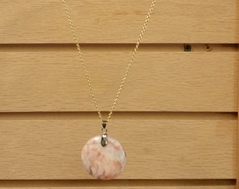 Redline Marble Stone Pendant - 38mm - Free Form - Free Chain - Free Shipping
