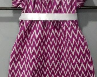 12 mo. Purple Chevron Infant Peasant Dress Baby Girl