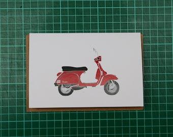 Red Vespa Illustration A6 Greeting Card