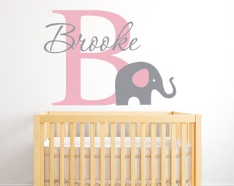 Name Elephant Wall Decal - Girls Name Wall Decal - Baby Nursery Wall Decal - Elephant Wall Decals