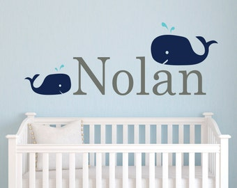 Name Wall Decal Whale - Nursery Wall Decal - Personalized Name Wall Decal - Whale Decal - Baby Name Wall Decal Wall Art
