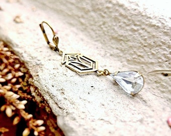 Teardrop earrings Victorian earrings Victorian style jewelry Art Deco earring Vintage style jewelry Crystal teardrop Edwardian style antique