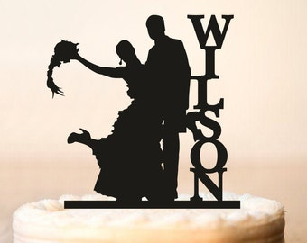 Wedding Cake Topper Silhouette, Silhouette Cake Topper,Surname and Silhouette Cake Topper,Wedding Bride and Groom silhouette,Cake Topper