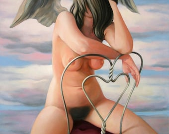 "Painting female nude, surreal. Erotic figurative painting. Oil on canvas. Painting large-format. ""The Angel"""