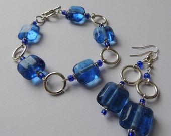 Blue Water - beautiful clear blue glass Bracelet and earring set