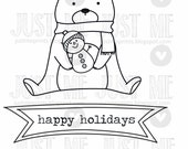 Christmas bear with snowman digital stamp