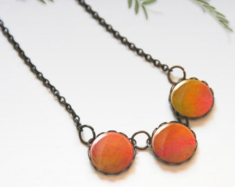 Chunky bib necklace, Orange necklace, Glass dome necklace, Trio necklace, Boho jewelry for women, Gift idea, Easter gift, 5089-4