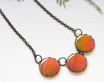 Chunky bib necklace, Orange necklace, Glass dome necklace, Trio necklace, Boho jewelry for women, Gift idea, 5089-4