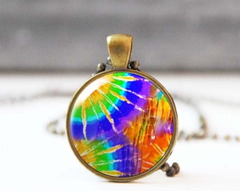 Psychedelic necklace, Tie dye necklace, Hippie necklace, 60s retro necklace, Colorful necklace, Bohemian jewelry, 5059-6
