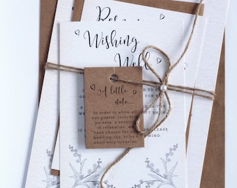 Rustic Style Twine and Pearls Wedding Invitation Sets, Kraft Envelopes and White Cards, Child note Tag, Barnyard Invites