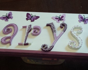 butterfly custom wood name sign nursery girls kids purple
