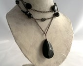 Gothic black glass bead and chain necklace, three strand - Handmade