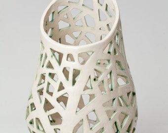 White Coral Lamp with green, Ceramic night light, Mood light, Romantic Ceramic Lamp, Decorative Lamp,Home decor , Handmade by Iana Kaisheva
