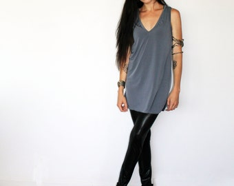 V Neck Jersey Tunic Tank in Gray