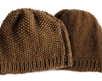 Hand knitted Manx Loaghtan wool beanie hat