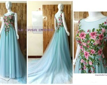 Real Photo Wedding Dress Color Empire Sweetheart Floral Chiffon Scoop Neck A Line Court Train Bridal Dress
