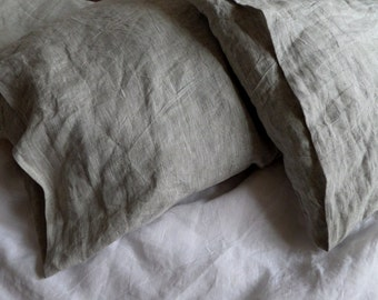 LINEN PILLOWCASE linen pillow cover gray white envelope closure linen pillow case bed linen Standard Queen King Euro custom flax bedding